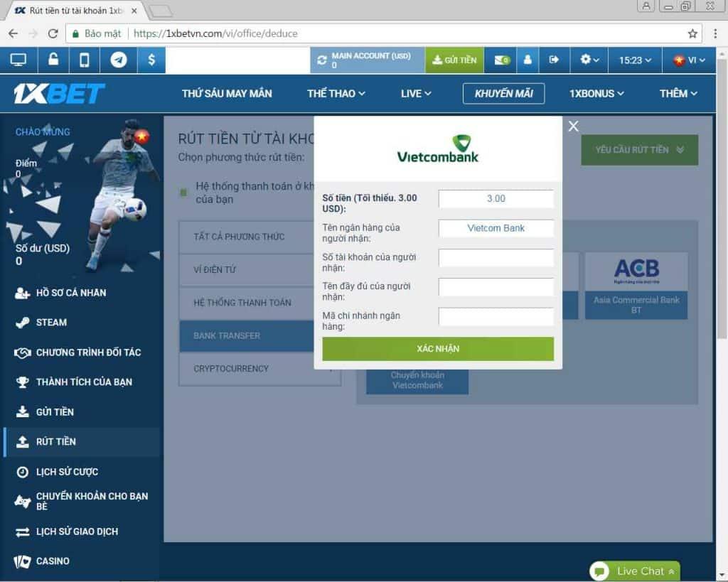 Hướng dẫn chi tiết đăng ký 1xBet gửi tiền và rút tiền 1xBet.