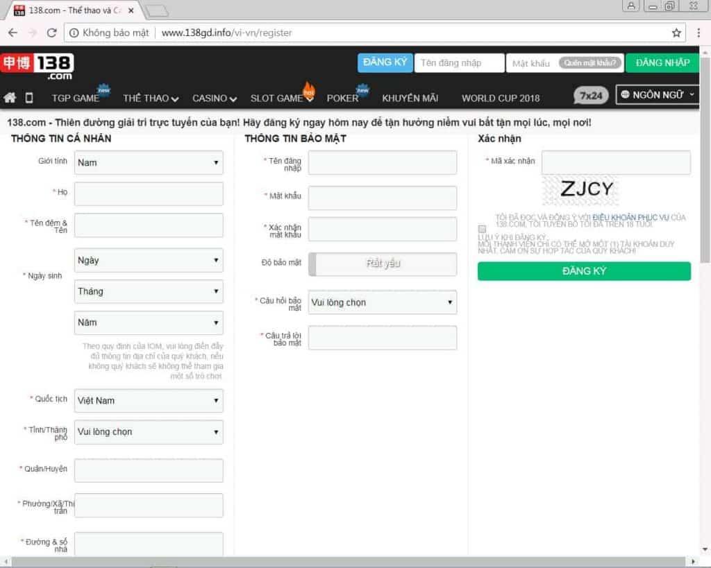 Cách thức đăng ký tài khoản nhà cái 138bet.